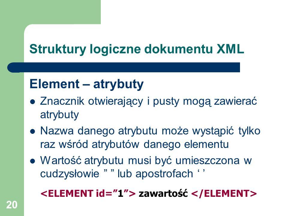 20 Struktury logiczne dokumentu XML Element – atrybuty Znacznik otwierający i pusty mogą zawierać atrybuty Nazwa danego atrybutu może wystąpić tylko r