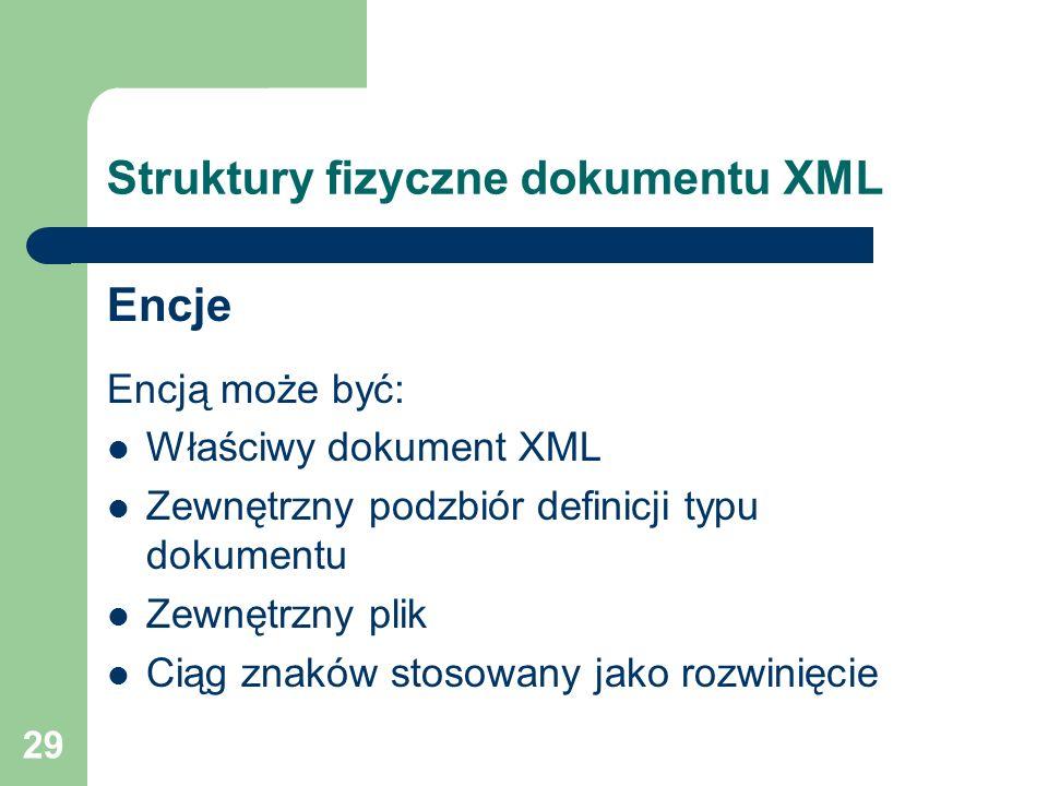 29 Struktury fizyczne dokumentu XML Encje Encją może być: Właściwy dokument XML Zewnętrzny podzbiór definicji typu dokumentu Zewnętrzny plik Ciąg znak