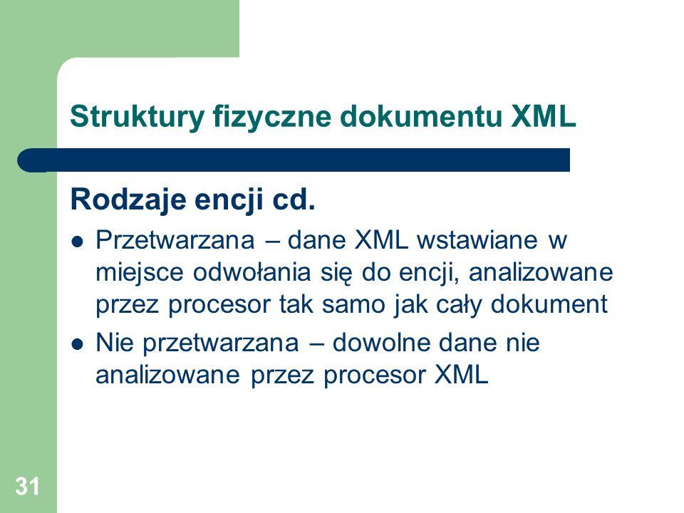 31 Struktury fizyczne dokumentu XML Rodzaje encji cd. Przetwarzana – dane XML wstawiane w miejsce odwołania się do encji, analizowane przez procesor t