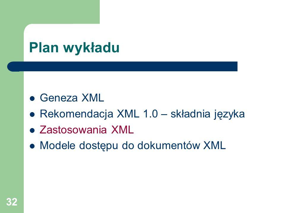32 Plan wykładu Geneza XML Rekomendacja XML 1.0 – składnia języka Zastosowania XML Modele dostępu do dokumentów XML