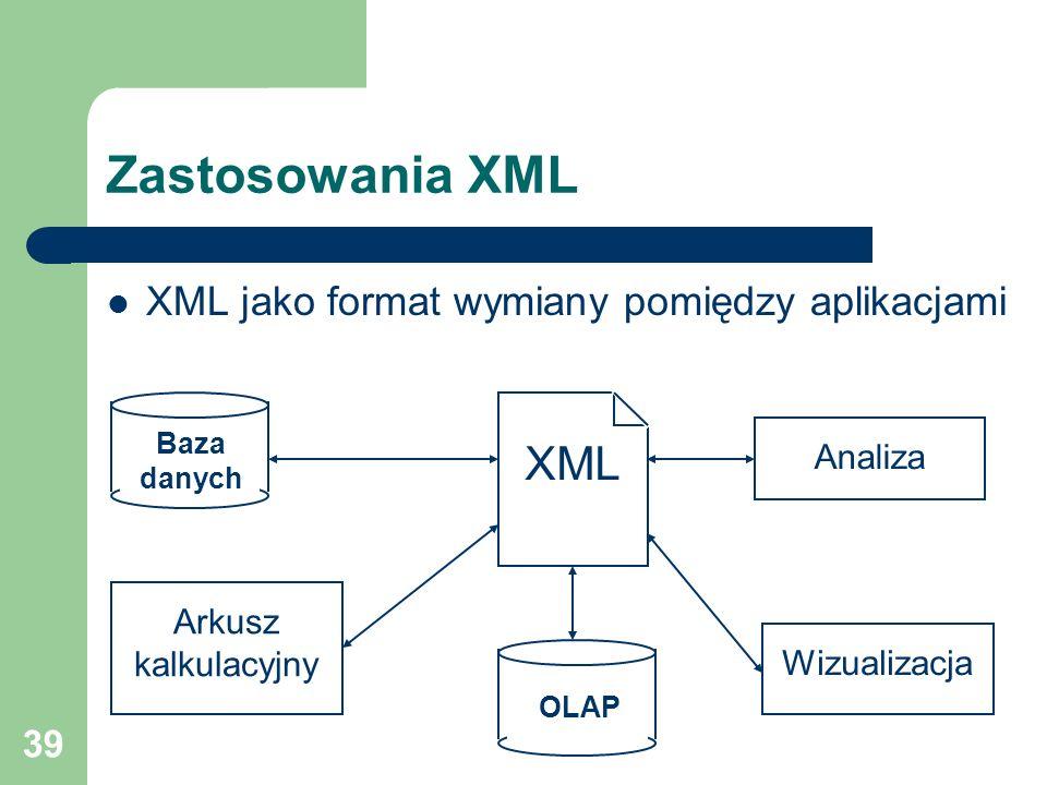 39 Zastosowania XML XML jako format wymiany pomiędzy aplikacjami Baza danych XML Arkusz kalkulacyjny OLAP Wizualizacja Analiza