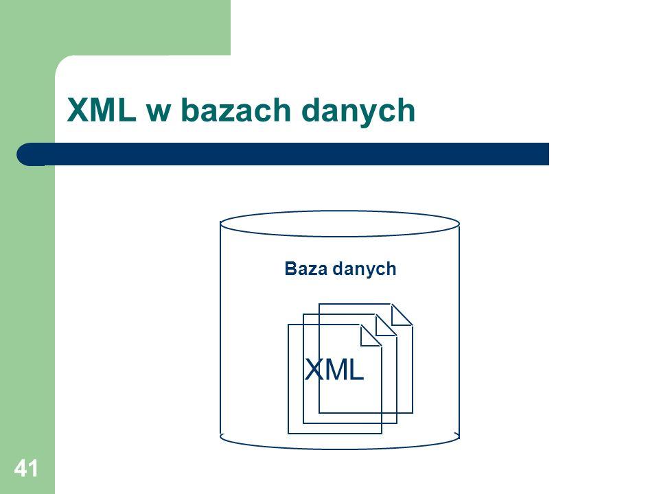 41 XML w bazach danych Baza danych XML