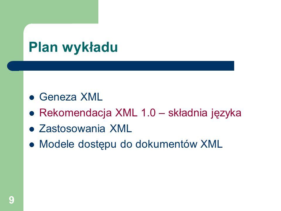 20 Struktury logiczne dokumentu XML Element – atrybuty Znacznik otwierający i pusty mogą zawierać atrybuty Nazwa danego atrybutu może wystąpić tylko raz wśród atrybutów danego elementu Wartość atrybutu musi być umieszczona w cudzysłowie lub apostrofach zawartość