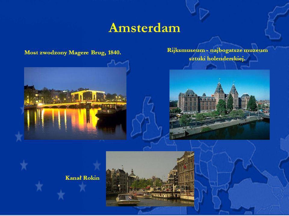 Amsterdam Most zwodzony Magere Brug, 1840. Rijksmuseum - najbogatsze muzeum sztuki holenderskiej. Kanał Rokin