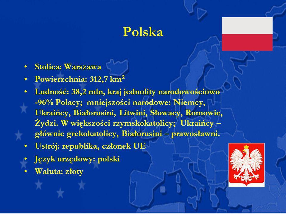 Polska Stolica: Warszawa Powierzchnia: 312,7 km 2 Ludność: 38,2 mln, kraj jednolity narodowościowo -96% Polacy; mniejszości narodowe: Niemcy, Ukraińcy