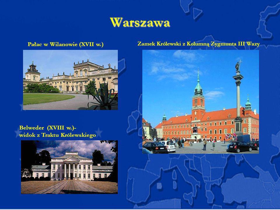 Warszawa Zamek Królewski z Kolumną Zygmunta III Wazy Pałac w Wilanowie (XVII w.) Belweder (XVIII w.)- widok z Traktu Królewskiego