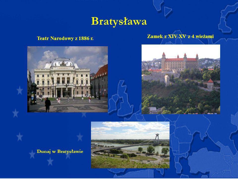 Bratysława Zamek z XIV-XV z 4 wieżami Teatr Narodowy z 1886 r. Dunaj w Bratysławie