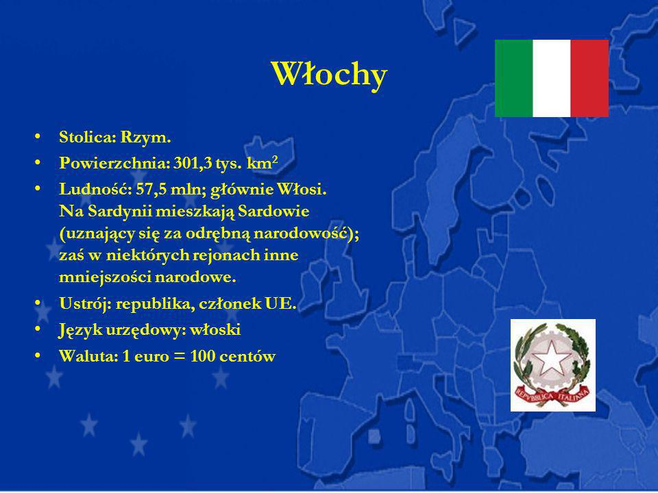 Włochy Stolica: Rzym. Powierzchnia: 301,3 tys. km 2 Ludność: 57,5 mln; głównie Włosi. Na Sardynii mieszkają Sardowie (uznający się za odrębną narodowo