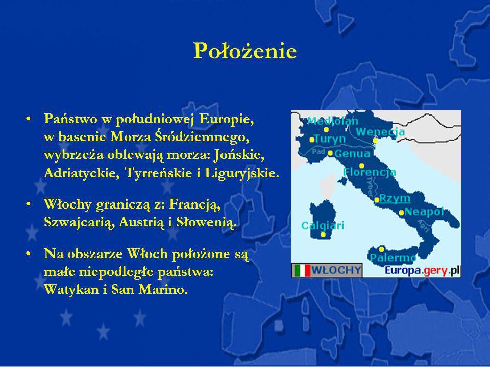 Położenie Państwo w południowej Europie, w basenie Morza Śródziemnego, wybrzeża oblewają morza: Jońskie, Adriatyckie, Tyrreńskie i Liguryjskie. Włochy