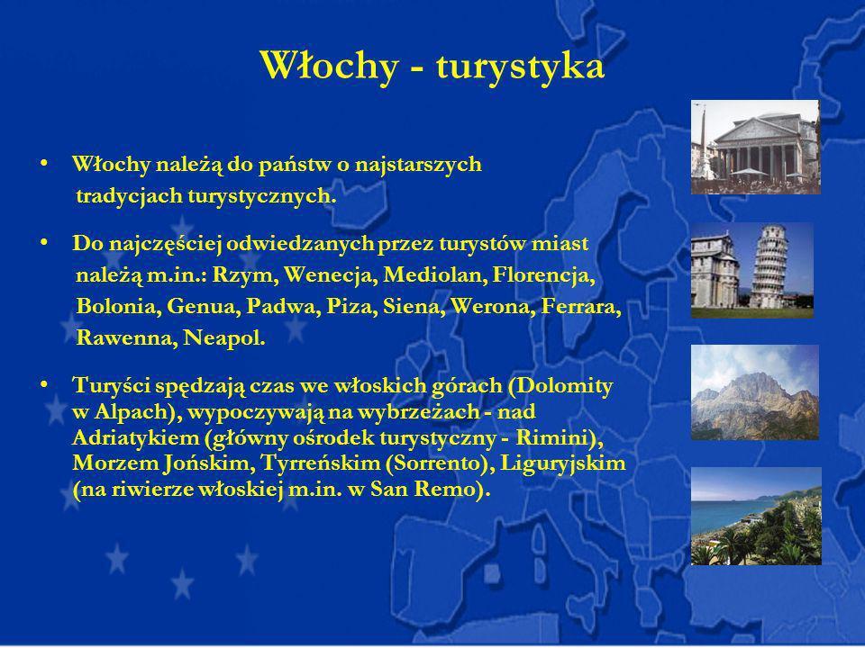 Włochy - turystyka Włochy należą do państw o najstarszych tradycjach turystycznych. Do najczęściej odwiedzanych przez turystów miast należą m.in.: Rzy