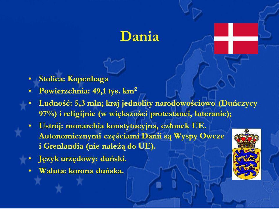 Dania Stolica: Kopenhaga Powierzchnia: 49,1 tys. km 2 Ludność: 5,3 mln; kraj jednolity narodowościowo (Duńczycy 97%) i religijnie (w większości protes