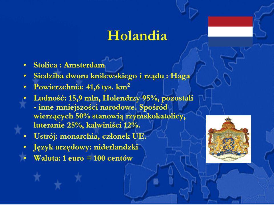 Holandia Stolica : Amsterdam Siedziba dworu królewskiego i rządu : Haga Powierzchnia: 41,6 tys. km 2 Ludność: 15,9 mln, Holendrzy 95%, pozostali - inn