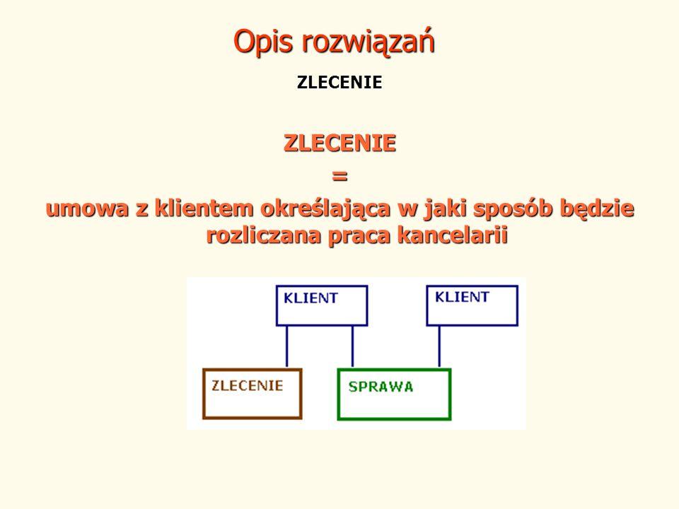 ZLECENIE ZLECENIE= umowa z klientem określająca w jaki sposób będzie rozliczana praca kancelarii Opis rozwiązań