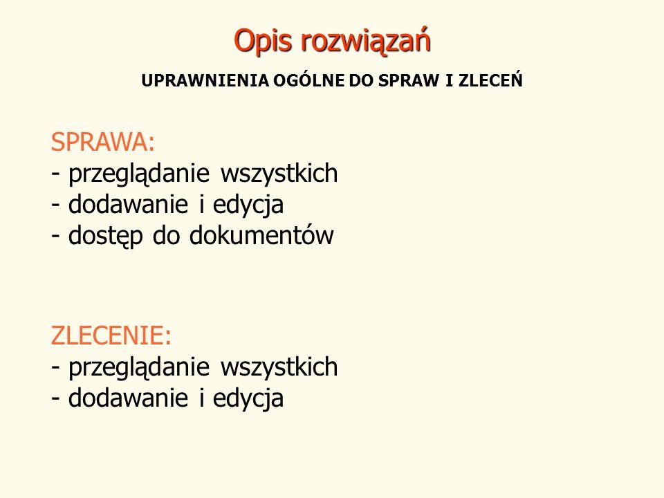 Opis rozwiązań UPRAWNIENIA OGÓLNE DO SPRAW I ZLECEŃ SPRAWA: - przeglądanie wszystkich - dodawanie i edycja - dostęp do dokumentów ZLECENIE: - przegląd