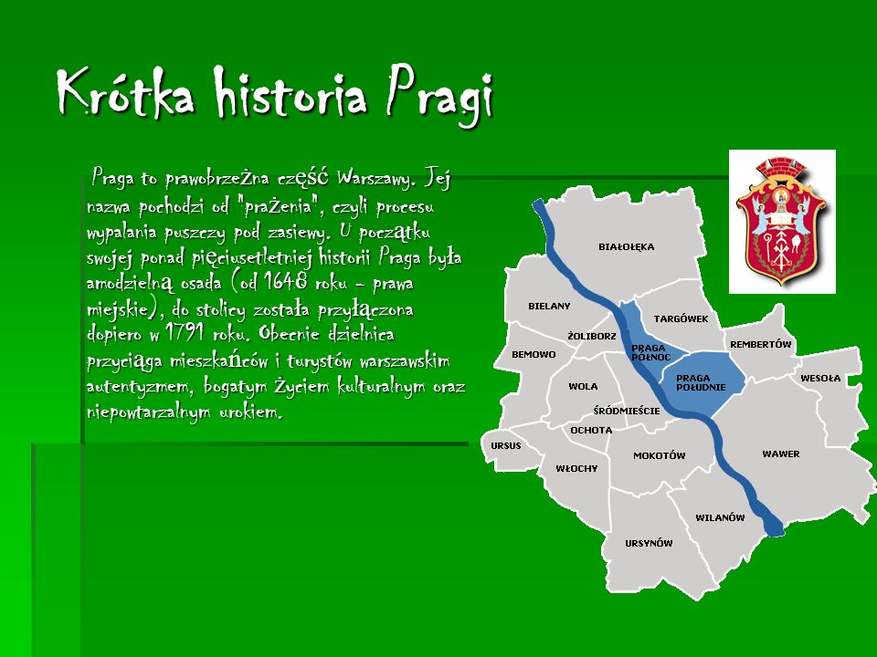Krótka historia Pragi Praga to prawobrzeżna część Warszawy.