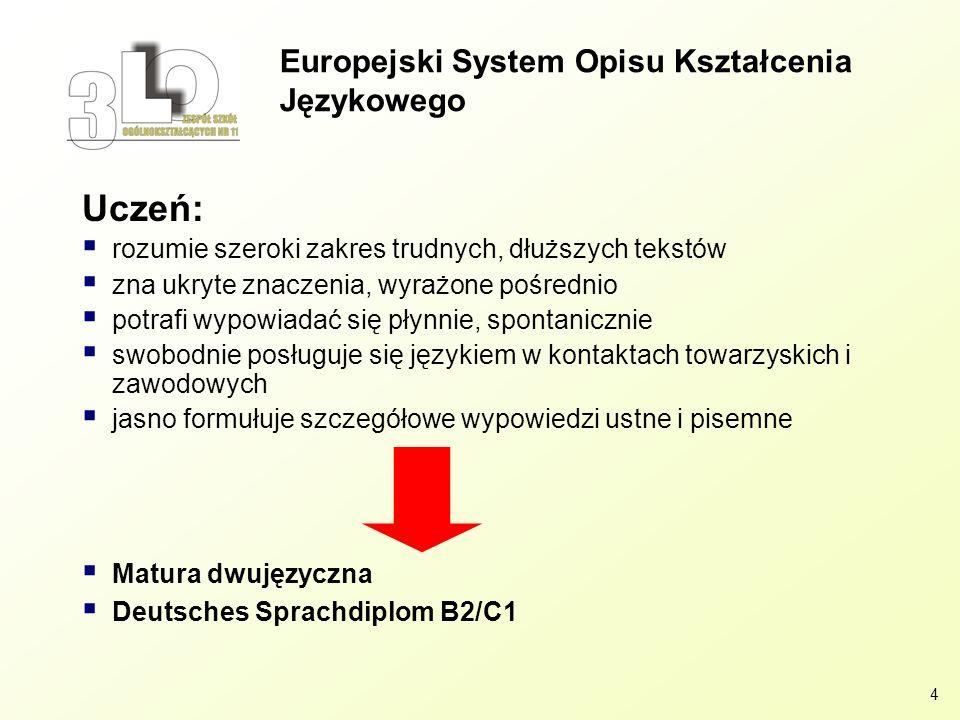 4 Europejski System Opisu Kształcenia Językowego Uczeń: rozumie szeroki zakres trudnych, dłuższych tekstów zna ukryte znaczenia, wyrażone pośrednio po