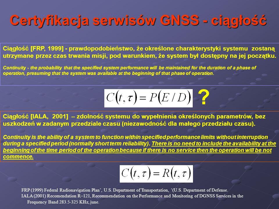 Ciągłość [FRP, 1999] - prawdopodobieństwo, że określone charakterystyki systemu zostaną utrzymane przez czas trwania misji, pod warunkiem, że system b