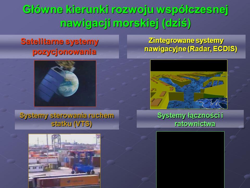 Główne kierunki rozwoju współczesnej nawigacji morskiej (dziś) Systemy sterowania ruchem statku (VTS) Systemy łączności i ratownictwa Zintegrowane sys