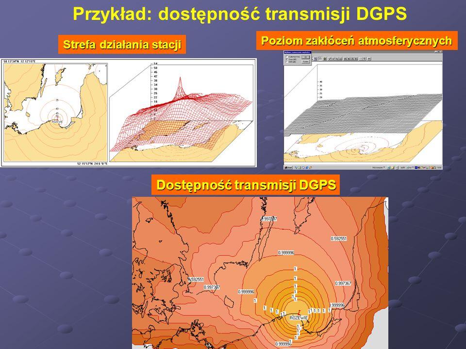 Strefa działania stacji Poziom zakłóceń atmosferycznych Dostępność transmisji DGPS Przykład: dostępność transmisji DGPS