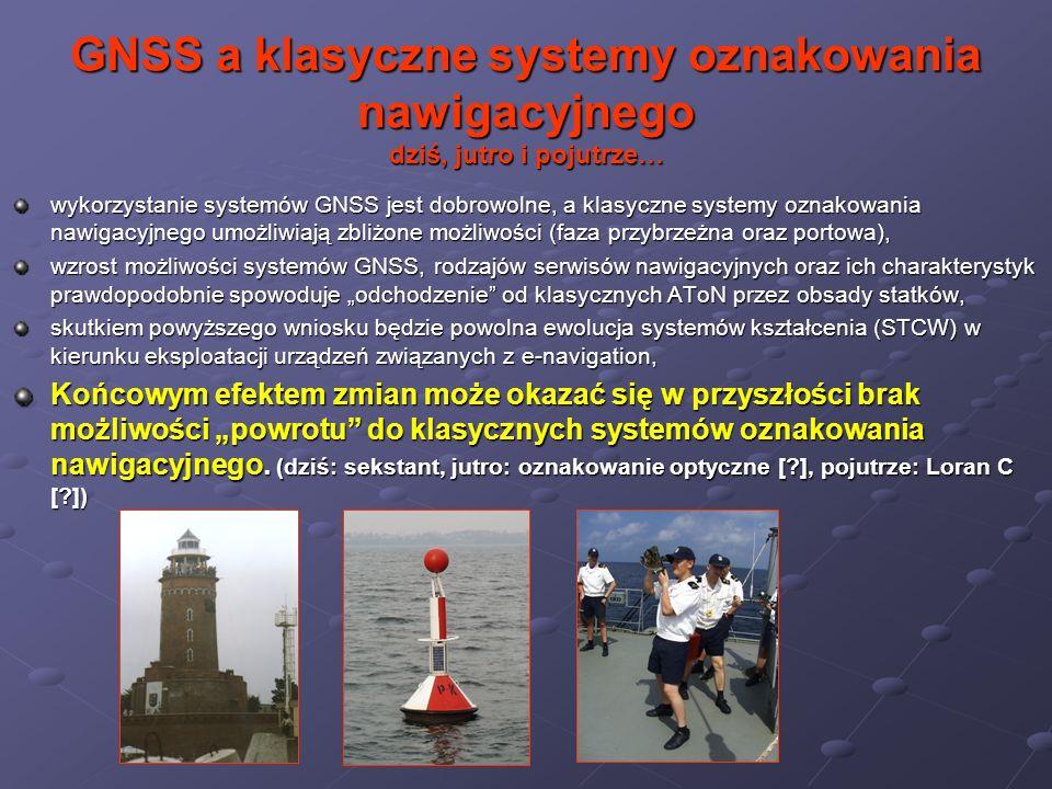 GNSS a klasyczne systemy oznakowania nawigacyjnego dziś, jutro i pojutrze… wykorzystanie systemów GNSS jest dobrowolne, a klasyczne systemy oznakowani