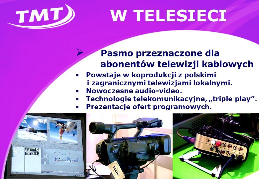 W TELESIECI Pasmo przeznaczone dla abonentów telewizji kablowych Powstaje w koprodukcji z polskimi i zagranicznymi telewizjami lokalnymi.