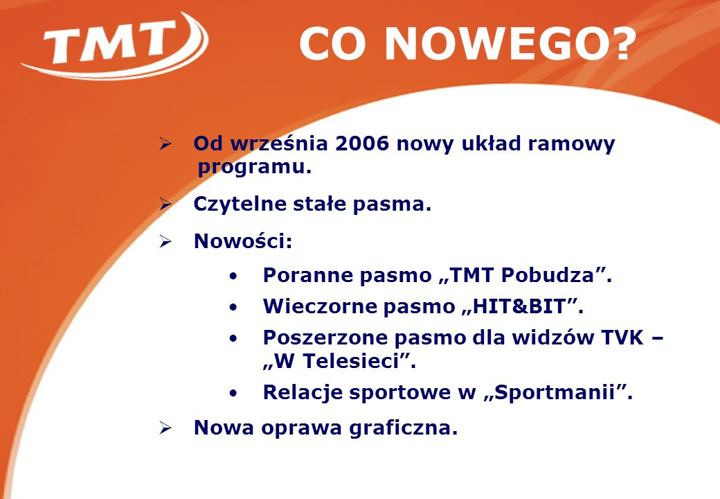 CO NOWEGO. Od września 2006 nowy układ ramowy programu.