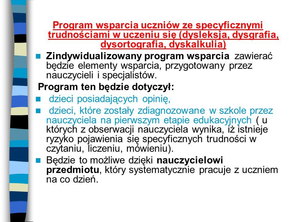 Program wsparcia uczniów ze specyficznymi trudnościami w uczeniu się (dysleksja, dysgrafia, dysortografia, dyskalkulia) Zindywidualizowany program wsp