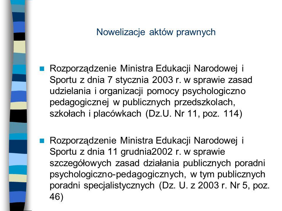 Nowelizacje aktów prawnych Rozporządzenie Ministra Edukacji Narodowej i Sportu z dnia 7 stycznia 2003 r. w sprawie zasad udzielania i organizacji pomo