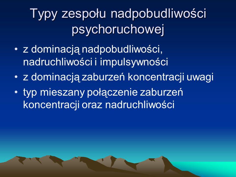 Typy zespołu nadpobudliwości psychoruchowej z dominacją nadpobudliwości, nadruchliwości i impulsywności z dominacją zaburzeń koncentracji uwagi typ mi