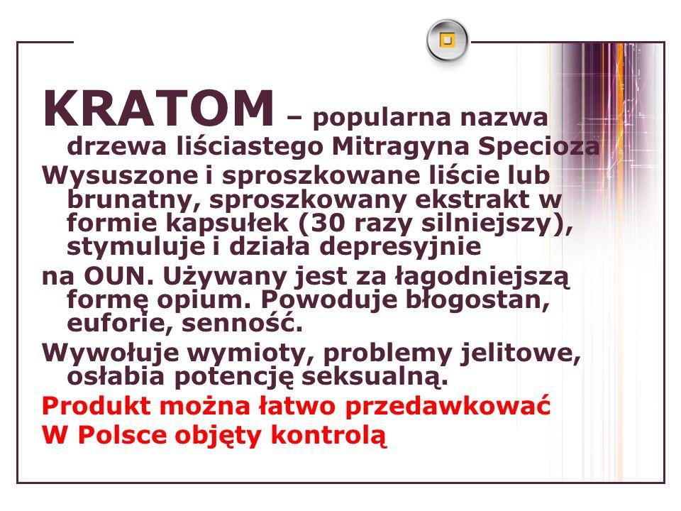 KRATOM – popularna nazwa drzewa liściastego Mitragyna Specioza Wysuszone i sproszkowane liście lub brunatny, sproszkowany ekstrakt w formie kapsułek (30 razy silniejszy), stymuluje i działa depresyjnie na OUN.