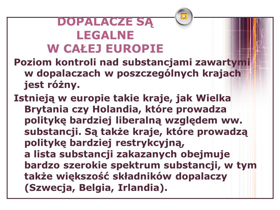 DOPALACZE SĄ LEGALNE W CAŁEJ EUROPIE Poziom kontroli nad substancjami zawartymi w dopalaczach w poszczególnych krajach jest różny. Istnieją w europie