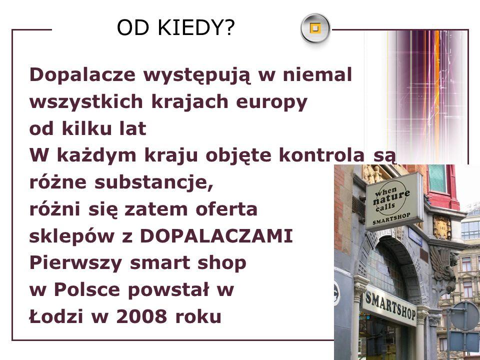 OD KIEDY? Dopalacze występują w niemal wszystkich krajach europy od kilku lat W każdym kraju objęte kontrola są różne substancje, różni się zatem ofer