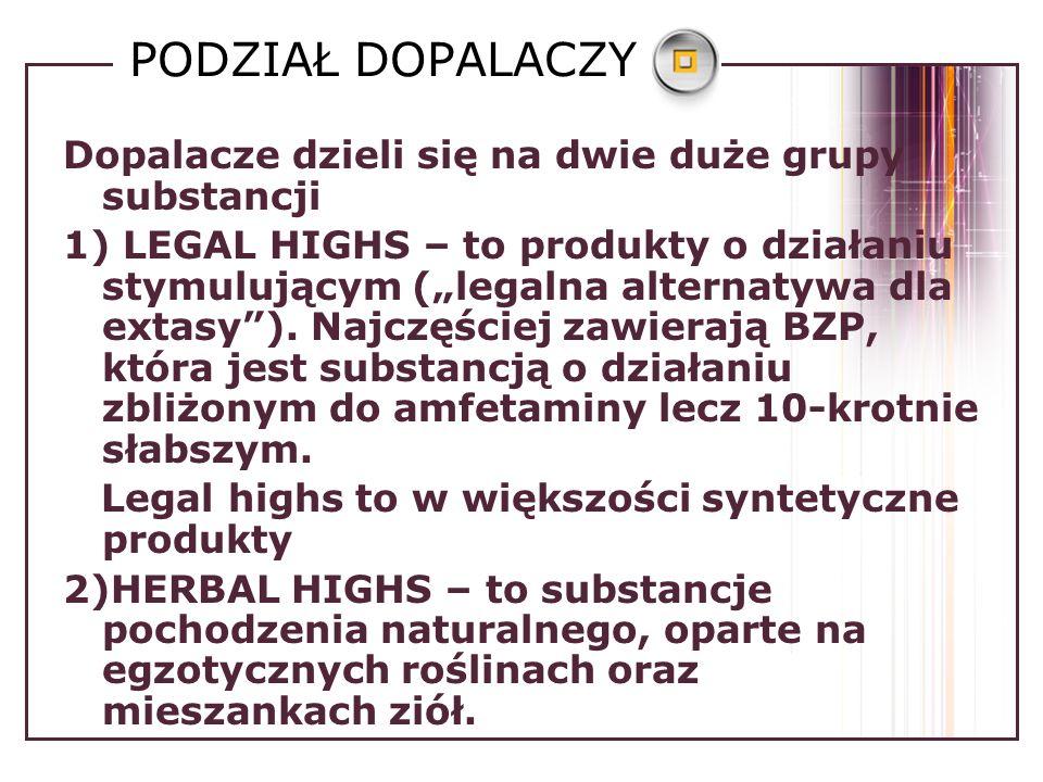 PODZIAŁ DOPALACZY Dopalacze dzieli się na dwie duże grupy substancji 1) LEGAL HIGHS – to produkty o działaniu stymulującym (legalna alternatywa dla extasy).