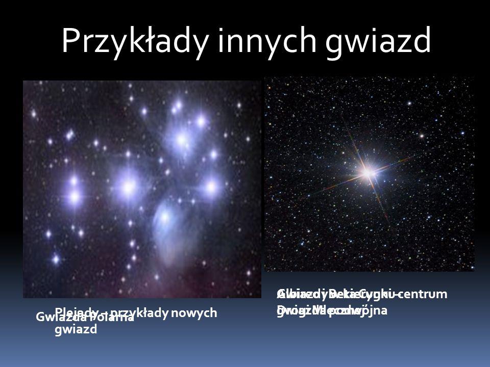 Przykłady innych gwiazd Gwiazda Polarna Gwiazdy w kierunku centrum Drogi Mlecznej Plejady – przykłady nowych gwiazd Albireo i Beta Cygni – gwiazda podwójna