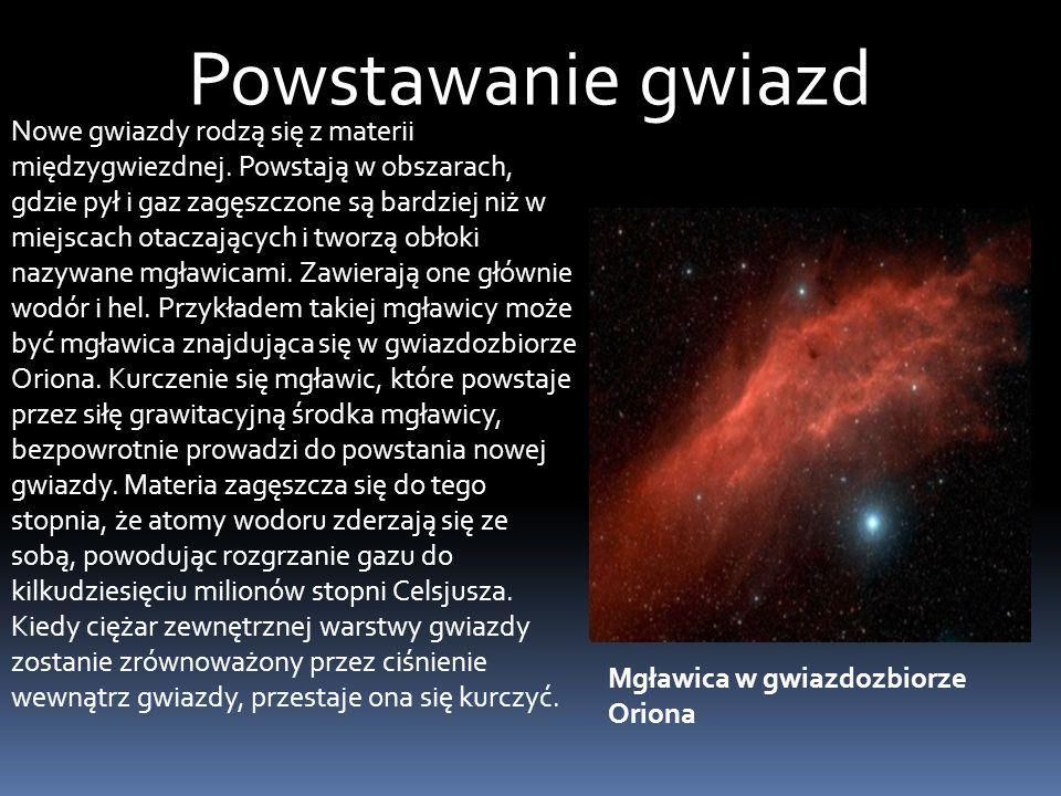 Powstawanie gwiazd Nowe gwiazdy rodzą się z materii międzygwiezdnej.