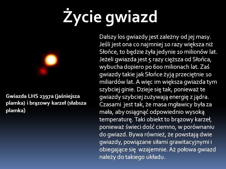 Dalszy los gwiazdy jest zależny od jej masy.