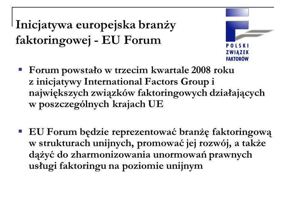 Inicjatywa europejska branży faktoringowej - EU Forum Forum powstało w trzecim kwartale 2008 roku z inicjatywy International Factors Group i największych związków faktoringowych działających w poszczególnych krajach UE EU Forum będzie reprezentować branżę faktoringową w strukturach unijnych, promować jej rozwój, a także dążyć do zharmonizowania unormowań prawnych usługi faktoringu na poziomie unijnym