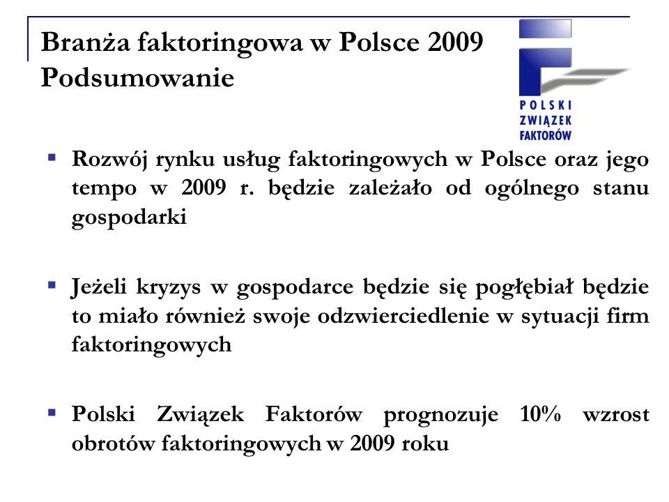 Branża faktoringowa w Polsce 2009 Podsumowanie Rozwój rynku usług faktoringowych w Polsce oraz jego tempo w 2009 r.