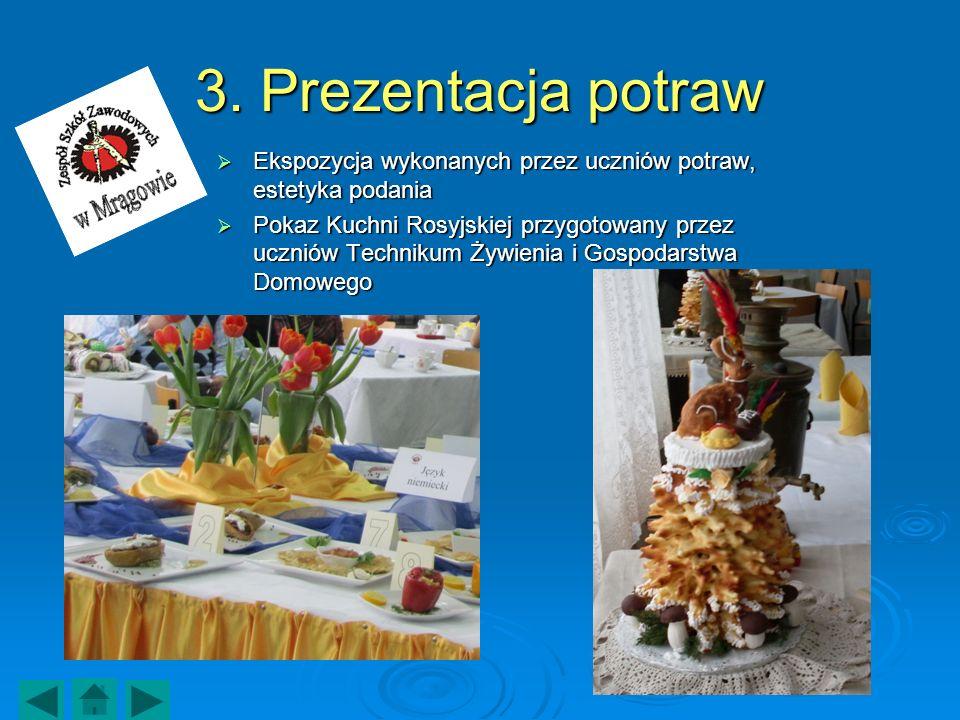 3. Prezentacja potraw Ekspozycja wykonanych przez uczniów potraw, estetyka podania Ekspozycja wykonanych przez uczniów potraw, estetyka podania Pokaz