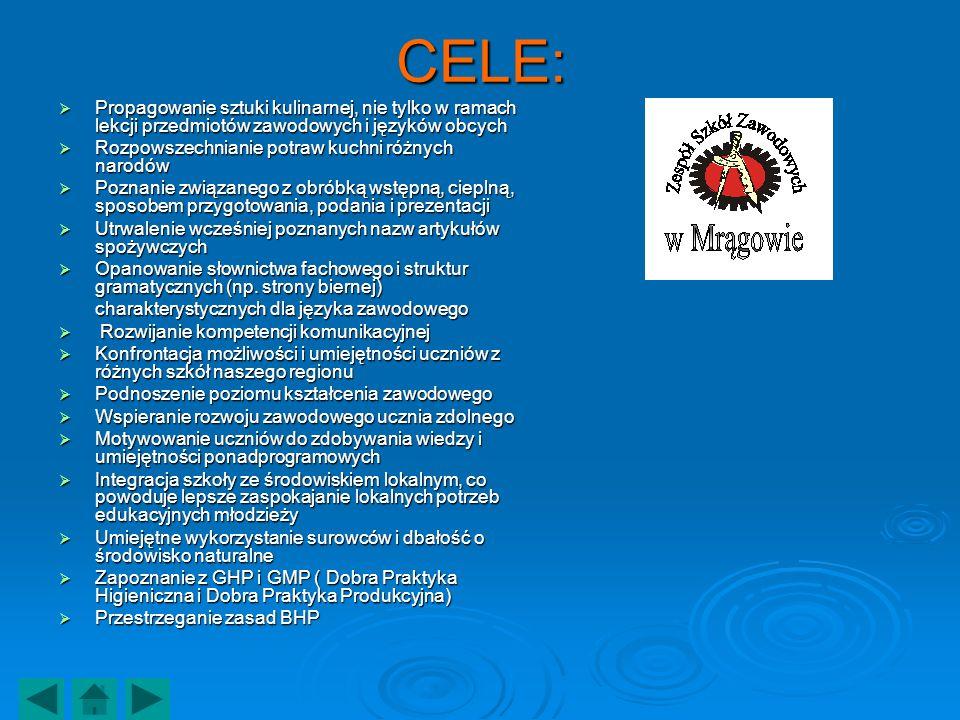 CELE: Propagowanie sztuki kulinarnej, nie tylko w ramach lekcji przedmiotów zawodowych i języków obcych Propagowanie sztuki kulinarnej, nie tylko w ra