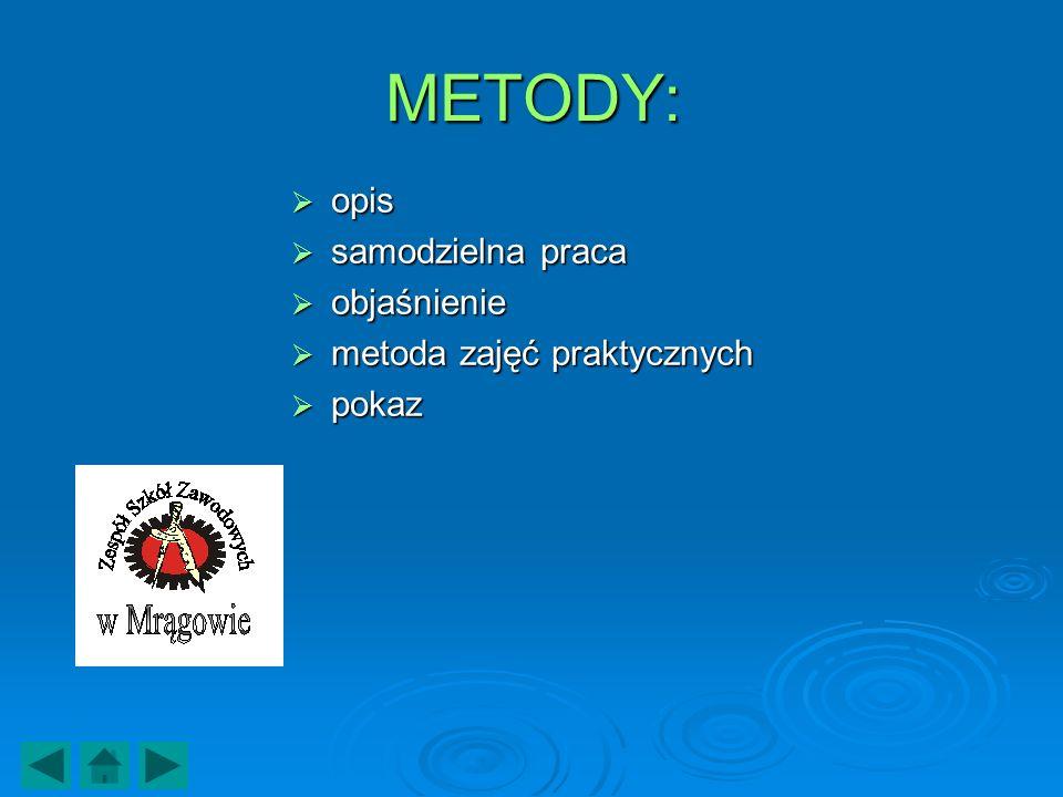 METODY: opis opis samodzielna praca samodzielna praca objaśnienie objaśnienie metoda zajęć praktycznych metoda zajęć praktycznych pokaz pokaz