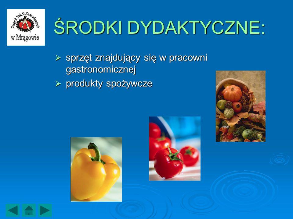 ŚRODKI DYDAKTYCZNE: sprzęt znajdujący się w pracowni gastronomicznej sprzęt znajdujący się w pracowni gastronomicznej produkty spożywcze produkty spoż