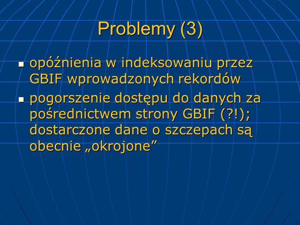 Problemy (3) opóźnienia w indeksowaniu przez GBIF wprowadzonych rekordów opóźnienia w indeksowaniu przez GBIF wprowadzonych rekordów pogorszenie dostę