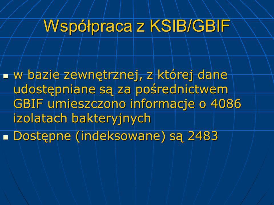 Współpraca z KSIB/GBIF w bazie zewnętrznej, z której dane udostępniane są za pośrednictwem GBIF umieszczono informacje o 4086 izolatach bakteryjnych w