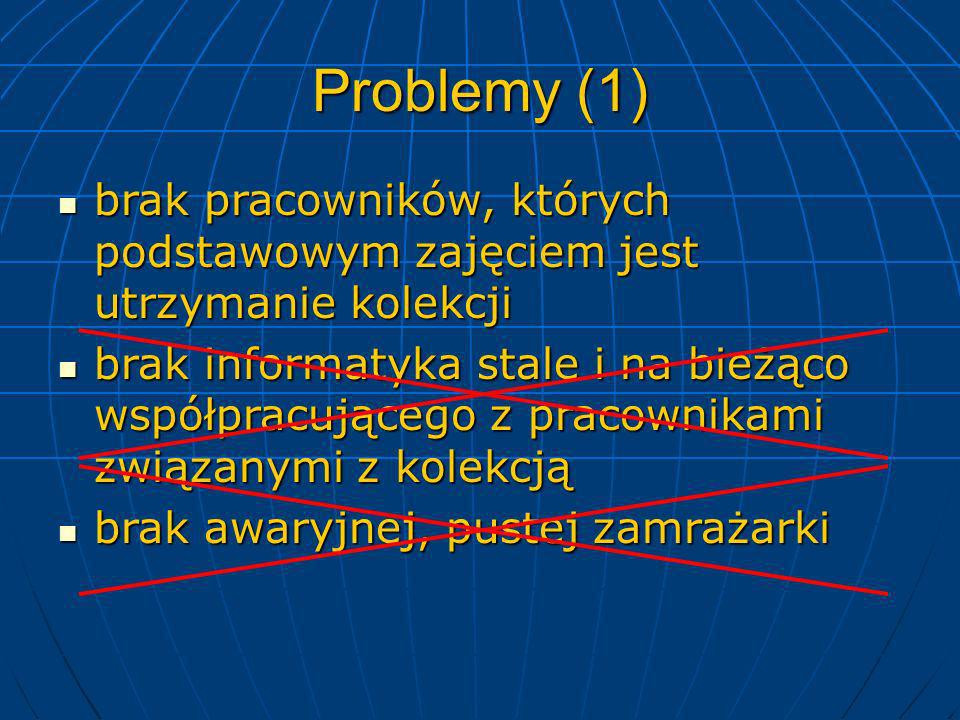 Problemy (2) trudności z dostosowaniem struktury bazy danych do rzeczywistej różnorodności napływającego materiału trudności z dostosowaniem struktury bazy danych do rzeczywistej różnorodności napływającego materiału skłonność pracowników do chomikowania swoich danych – umieszczanie i analiza szczegółowych danych w rozproszonych plikach Excela skłonność pracowników do chomikowania swoich danych – umieszczanie i analiza szczegółowych danych w rozproszonych plikach Excela