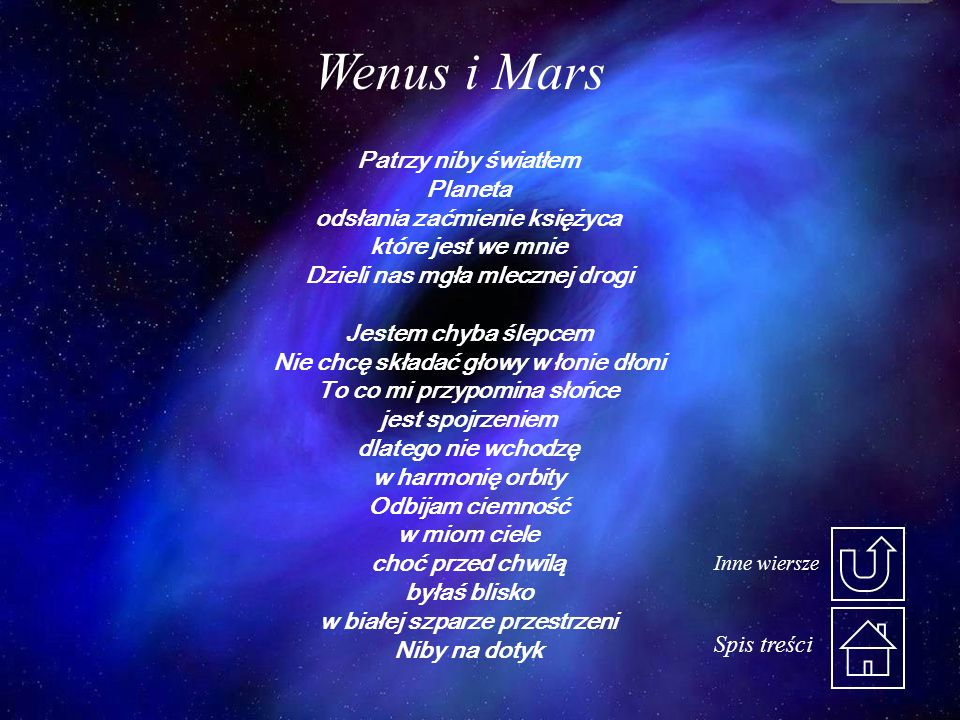 Patrzy niby światłem Planeta odsłania zaćmienie księżyca które jest we mnie Dzieli nas mgła mlecznej drogi Jestem chyba ślepcem Nie chcę składać głowy w łonie dłoni To co mi przypomina słońce jest spojrzeniem dlatego nie wchodzę w harmonię orbity Odbijam ciemność w miom ciele choć przed chwilą byłaś blisko w białej szparze przestrzeni Niby na dotyk Wenus i Mars Spis treści Inne wiersze