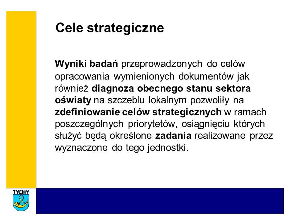 Cele strategiczne Wyniki badań przeprowadzonych do celów opracowania wymienionych dokumentów jak również diagnoza obecnego stanu sektora oświaty na sz