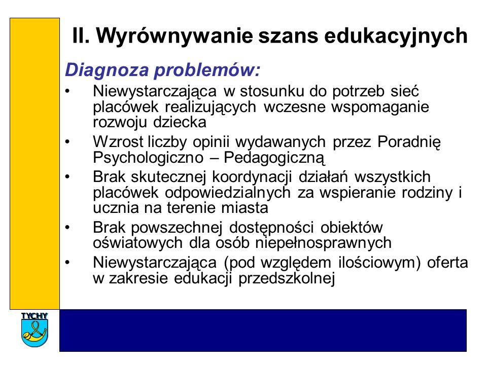 II. Wyrównywanie szans edukacyjnych Diagnoza problemów: Niewystarczająca w stosunku do potrzeb sieć placówek realizujących wczesne wspomaganie rozwoju