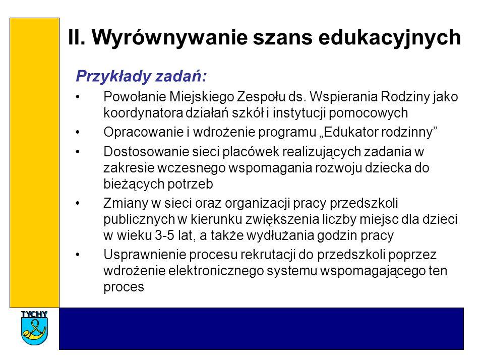 II.Wyrównywanie szans edukacyjnych Przykłady zadań: Powołanie Miejskiego Zespołu ds.