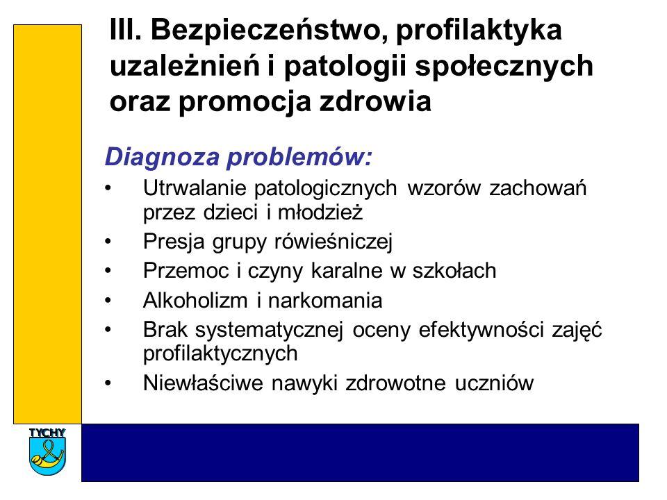 III. Bezpieczeństwo, profilaktyka uzależnień i patologii społecznych oraz promocja zdrowia Diagnoza problemów: Utrwalanie patologicznych wzorów zachow